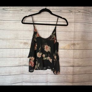 Audrey Black Floral Cropped Layered Tank T…